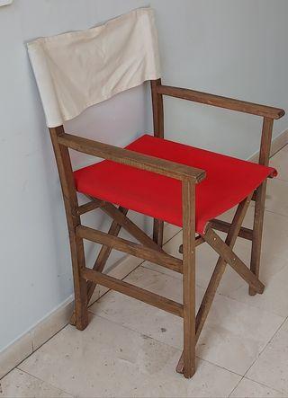 silla plegable de madera maciza con loneta.