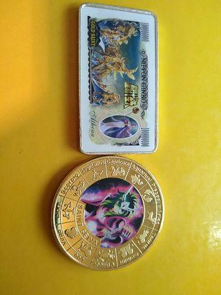 moneda y lingote de caballeros del zodiaco.nuevas