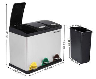 Cubo basura papelera reciclaje 3 compartimentos