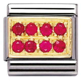 Link Nomination Gemstone rectangular Rosa oscuro