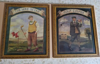 "Cuadros de golf ""Miol"" en marco madera antigua"
