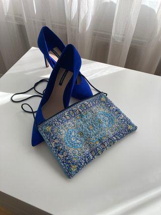 Zapatos nuevos de ante azul T38