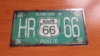 Placa metálica decorativa vintage Ruta 66
