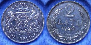 LETONIA - 2 lati 1926 KM# 8 - moneda de plata