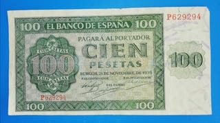 Billete de 100 Pesetas de 1936, serie P.