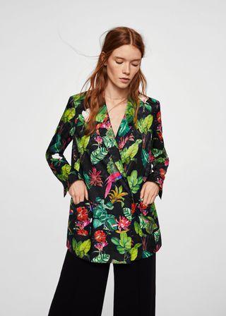 Blazer floral tropical de Mango estilo Kimono
