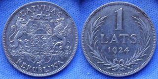 LETONIA - 1 lats 1924 KM# 7 - moneda de plata