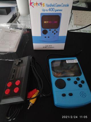 Mini consola retro con 400 juegos arcade antiguos.