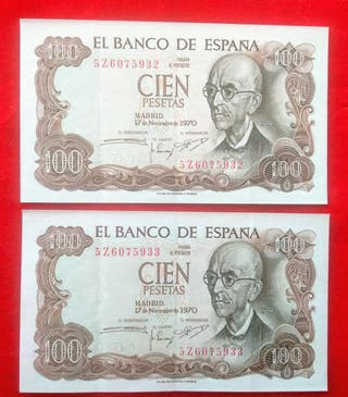 Antiguo billete de 100 pesetas de 1970