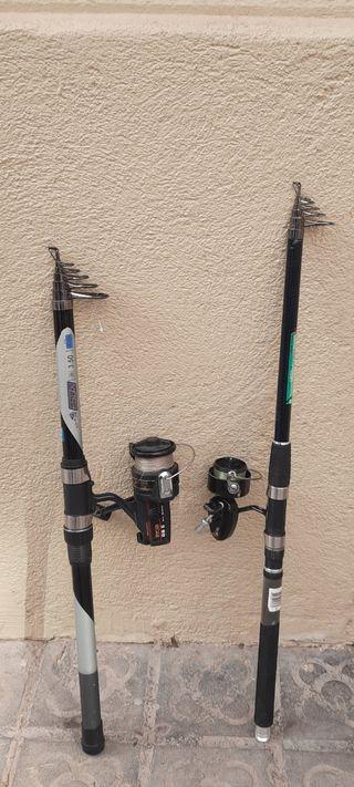 2 cañas de pescar y neverita