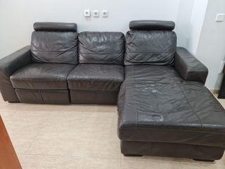 Precioso sofa chaiselongue cuero autentico