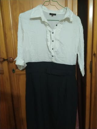 vestido de blanco con negro 44