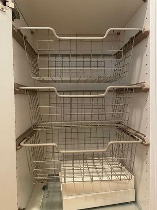 6 Cestos rejilla con riel extraible PAX IKEA