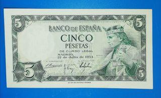 Billete de 5 Pesetas de 1954, sin serie.