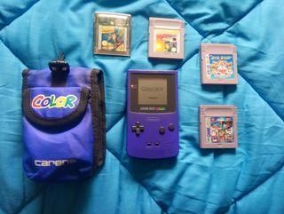 Game Boy Color Morada+funda+Juegos.