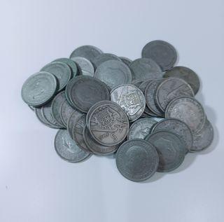 Lote 39 monedas 5 pesetas 1957
