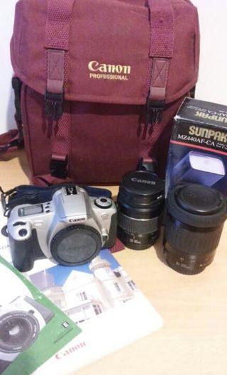 Canon Eos 300+2 objetivos+flash+bolsa transporte