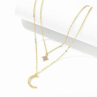 Colgante dorado diamantes de imitación