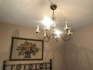 Lámpara araña de bronce y cristal murano