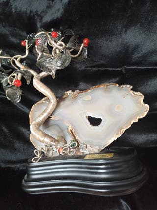 Bonsái chapado plata hecho en mano ágatha