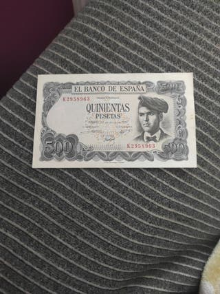 billete antiguo de 500 pesetas.