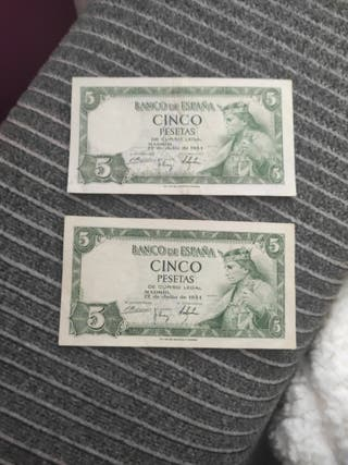 2 billetes antiguos de 5 pesetas.