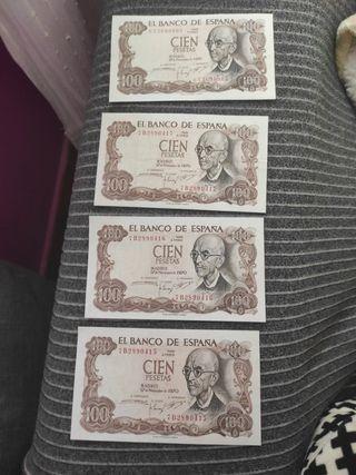 4 billetes antiguos de 100 pesetas.
