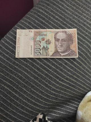 billete antiguo de 5000 pesetas.