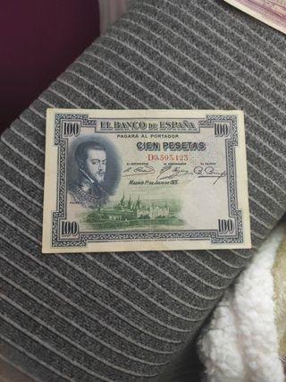 billete antiguo de 100 pesetas.