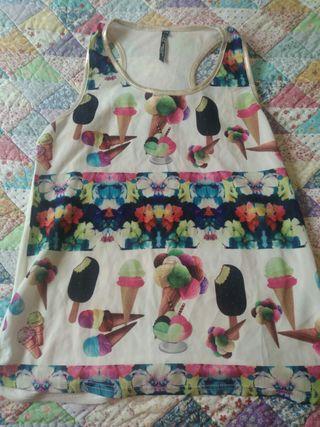 camiseta de tirantes con helados y flores