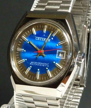 1025-Reloj CETIKON de cuerda, vintage, NOS (new
