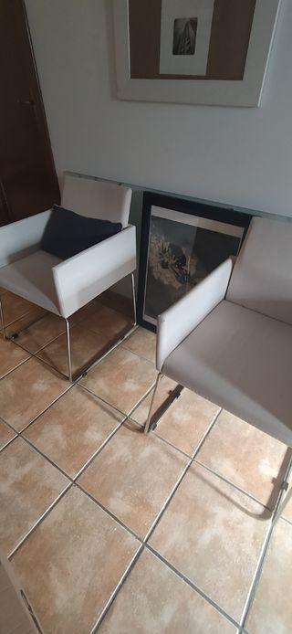 Conjunto2 Sillas Pata metalica Asiento tapizado