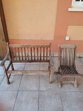 Banco de jardín y silla de jardín