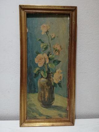 Cuadro antiguo de jarrón de flores