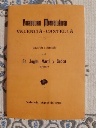 Diccionario bilingüe Castellano/Valenciano.