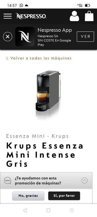 cafetera Nespresso krups essenza mini color gris
