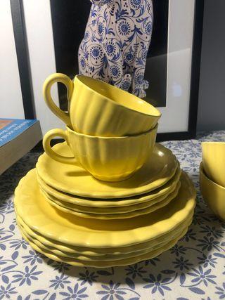 Juego 4 tazas vintage de té/café con 8 platos