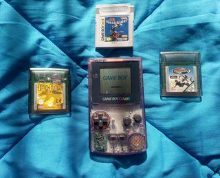 Game boy color transparente + 3 Juegos.