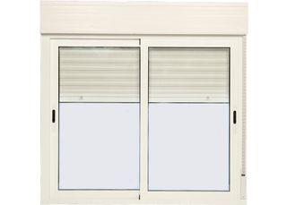 ventana corredera de aluminiocon persiana 100x100