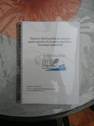 TEMARIO ACCESO GRADO SUPERIO TECNOLOGÍA INDUSTRIAL
