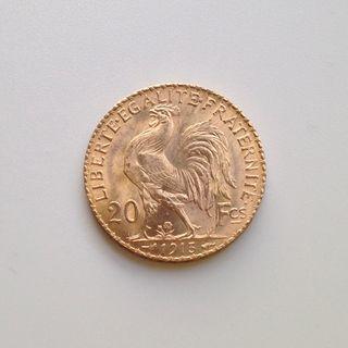 Moneda de oro de 20 francos.