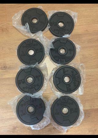 8 discos de 1kg para barras o mancuernas,NUEVOS
