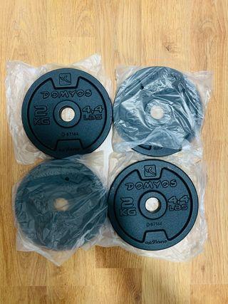 4 discos de 2kg para mancuernas y barras,NUEVOS