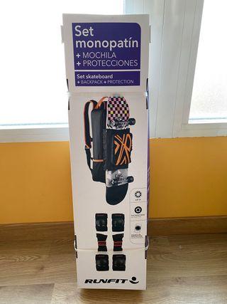 Set monopatín + Mochila + Protecciones