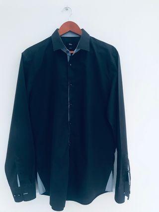 Camisa Boss talla 43 azul marino Slim Fit