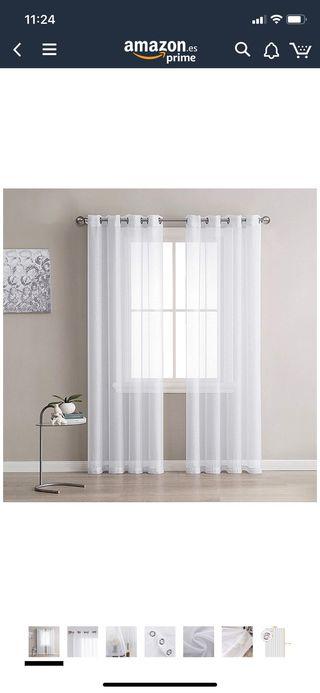 Visillos para ventana transparente blanco x2