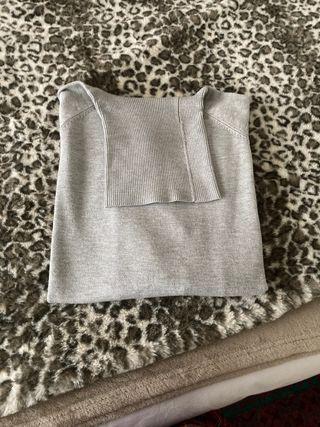 Jersey nuevo cuello vuelto gris claro TS