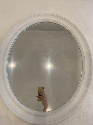 Espejo oval blanco 68x58cm