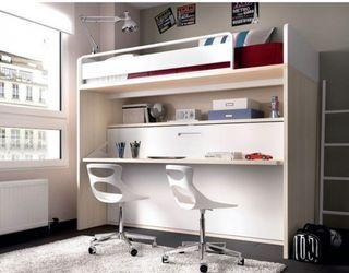 Litera con cama abatible escritorio