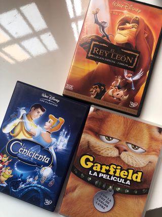 DVD EL REY LEON, garfield y la cenicienta